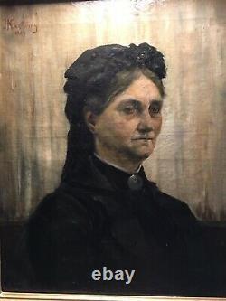 Tableau Ancien Portrait Dune Femme Dautorité XIXeme 49x59cm Hors Cadre