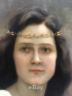 Tableau Ancien Portrait Femme Chaîne Alice Kaub-Casalonga Art Nouveau 1900