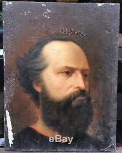 Tableau Ancien Portrait Homme Barbu Par Alice Kaub-Casalonga (1875-1948)