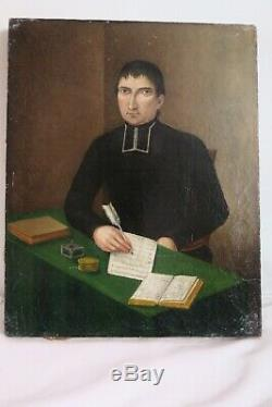 Tableau Ancien Portrait Homme D'eglise Peinture XIX Toile