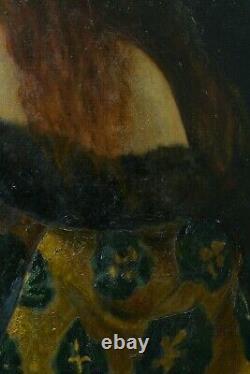 Tableau Ancien Portrait Jeune femme Rousse Comédie Art Nouveau Sarah Bernhardt