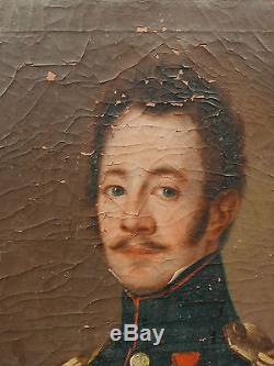 Tableau Ancien Portrait Officier Medaille Légion Honneur signé 1819 à restaurer