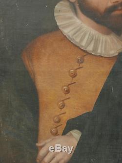 Tableau Ancien Portrait Renaissance Maitre Arquebusiers Boba 1593 à restaurer