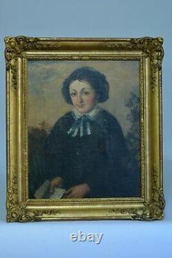 Tableau Ancien Portrait de jeune fille lisant a la coiffe dans un paysage 1830