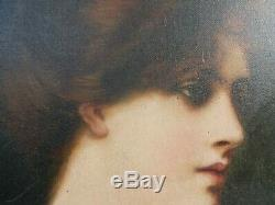 Tableau Ancien Portrait sur Toile a restaurer