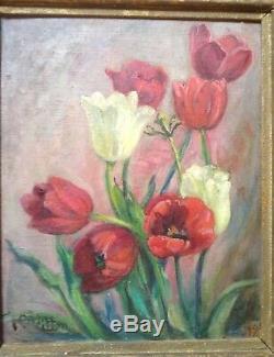 Tableau Ancien Post-Impressionniste Léonie VITTON Ecole Française Tulipes Huile