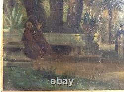 Tableau Ancien Rare Ecole Romaine XVIIIe siècle Paysage PARCO SAVELLO ROME Huile