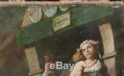 Tableau Ancien Scène de Fête Portrait Mère Enfants Fleurs Chien Verre Vin XIXe