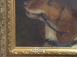Tableau Ancien Superbe Portrait de Chien de Chasse XIXe Ecole Française Huile