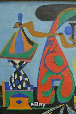 Tableau Ancien Surréaliste Vienne Goebel 1940 Portait Sv Oscar Dominguez rare