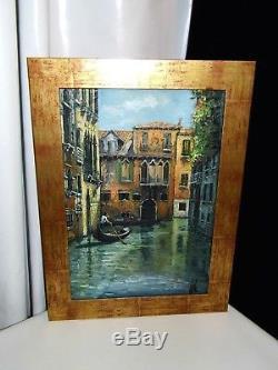 Tableau Ancien Vue De Venise Splendide Signé Volen Huile Sur Toile Très Bon Etat