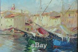 Tableau Ancien Vue de Saint Tropez Port Marine Bateaux Salomon le Tropézien hst