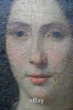 Tableau Ancien XIX ° Portrait Jeune Femme Romantique 65 X 53 cm