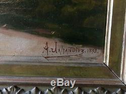 Tableau Ancien XIX signée Jahandiez Village Perche Grand Format Cadre Stuc Doré