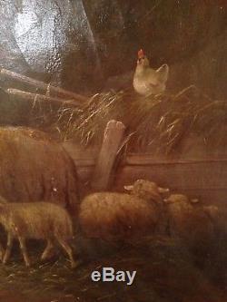 Tableau Ancien XIXe ADOLF NOWEY né en 1835 Bergerie Mouton noir Huile sur toile