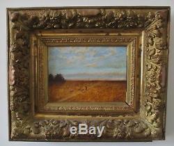 Tableau Ancien XIXe Ecole De Barbizon Paysage berger et moutons Huile / Panneau
