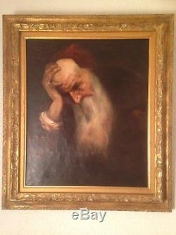 Tableau Ancien XIXe Ecole Française Portrait Homme Le penseur Huile 19thc