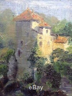 Tableau Ancien XIXe Impressionniste Ernest ROMAN Lîle Barbe Lyon Huile signée