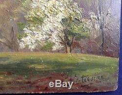 Tableau Ancien XIXe Impressionniste Paysage Printemps MONTFERMEIL Huile signée