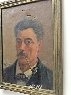 Tableau Ancien XIXe Impressionniste Portrait Henri Alexandre COLLINET 1860-1905