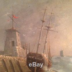 Tableau Ancien XIXe Marine Anglaise New Haven Huile