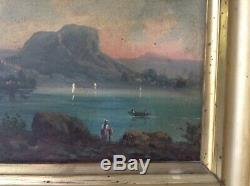 Tableau Ancien XIXe Marine Ecole Napolitaine Iles du Golfe de Naples Huile signé