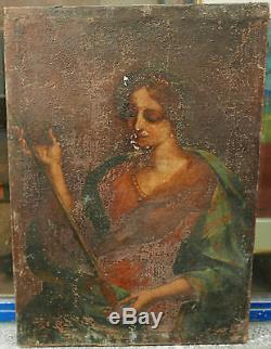 Tableau Ancien XVIIe Siècle Huile Portrait de Sainte À RESTAURER Mention au dos