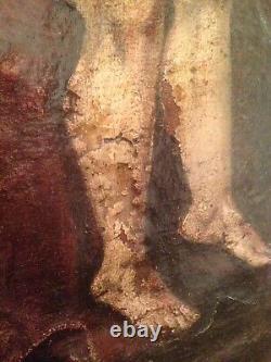 Tableau Ancien XVIIeme Religieux Pieta Huile sur Toile 17ème A restaurer