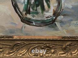 Tableau Ancien XXe Bouquet de fleurs Huile sur panneau isorel