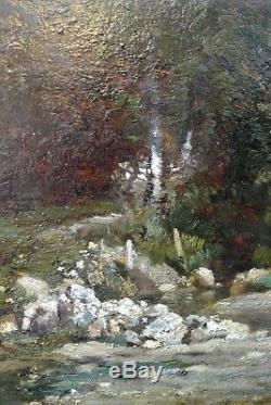Tableau Ancien autour de Courbet Diaz de la Pena Paysage animé Rivière Forêt