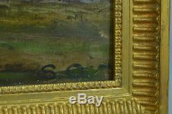 Tableau Ancien école provençale paysage animé crépuscule anonyme 19 éme encadré