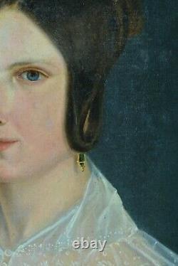 Tableau Ancien élégant Portrait Jeune femme Romantique Robe Bleu dentelle HST