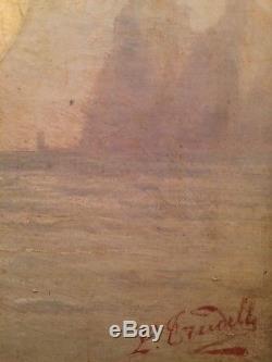Tableau Ancien fin XIXe Marine Bateau Trois mats au vent Huile Signée 19th