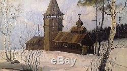 Tableau Ancien-hst- Paysage De Neige Eglise Orthodoxe Signe Ecole Russe