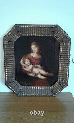 Tableau Ancien huile La Vierge à L'enfant 19 ème