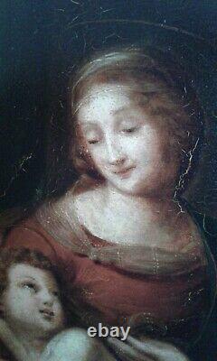 Tableau Ancien huile La Vierge et L'enfant 19 ème