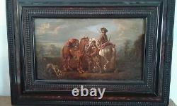 Tableau Ancien huile attelage de chevaux 18 ème. Atelier August Querfurt