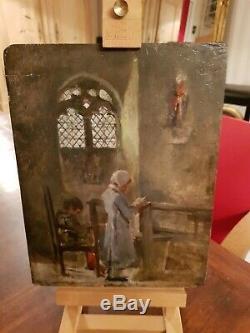 Tableau Ancien huile sur panneau XIX ème s, la prière
