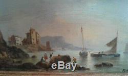 Tableau Ancien huile sur panneau marine début 19 ème. Signé