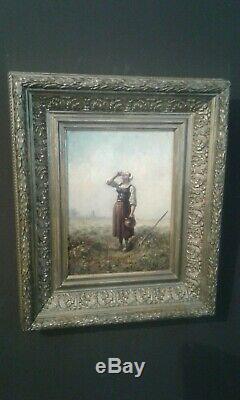 Tableau Ancien huile sur toile femme 1894 / Old painting 19 ème
