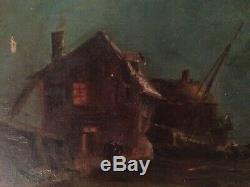 Tableau Ancien impressionniste Marine animée au Clair de lune Bretagne Huile