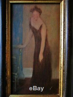 Tableau Ancien peinture à l' Huile / carton Femme à la chaise Début XXe 1900