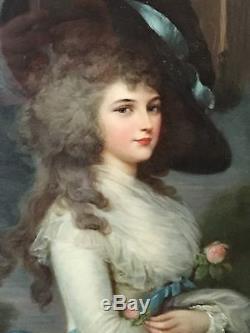 Tableau Ancien peinture sur Bois Marquise comtesse À Voir