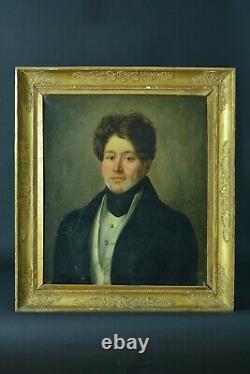 Tableau Ancien portrait Homme Dandy Costume Romantique sv Dubuffe cadre doré 19e