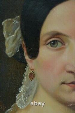 Tableau Ancien portrait Jeune femme Romantique intérieur nature morte ec. Ingres
