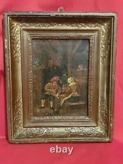 Tableau Ancien, scène de taverne XIX ème s, école flamande