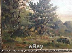 Tableau Ancien style Barbizon Paysage bucolique animé Huile signée DEIBL