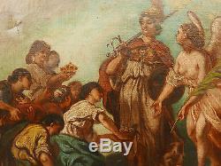 Tableau Ancien Étude Plafond Allégorie Justice XIXe Proche Eugène Delacroix 1850