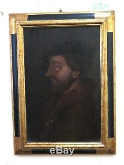 Tableau Ancienne Huile sur Toile Portrait Mâle Profil D' D'Époque Fine Huit