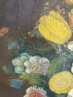Tableau, Ancienne Nature morte aux fleurs, huile sur toile